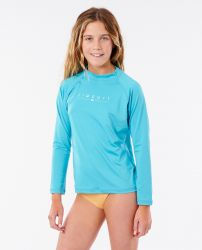 Rip Curl Girls Golden Rays Long Sleeve Rash Vest 2021 - Blue
