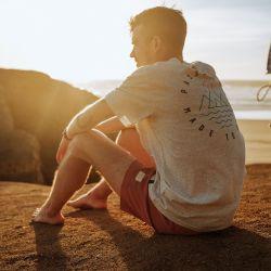 Passenger Clothing Escapism Recycled Cotton Mens T-Shirt - Light Grey - Close Up