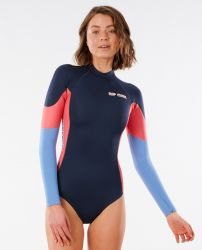 Rip Curl Womens GBomb Long Sleeve High Cut Shorty Wetsuit 2021 - Slate - Front