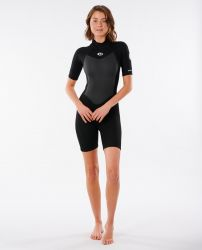 Rip Curl Womens Omega 1/5mm Short Sleeve Spring Wetsuit 2021 - Black - Front