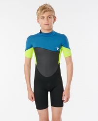 Rip Curl Junior Boys  Omega 1.5mm S/SL E Spring Wetsuit 2021 - Black/Neon Yellow  - Front View