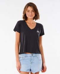 Rip Curl Women's 'Saltwater' V-Neck T-Shirt - 'Washed Black'