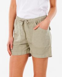 Rip Curl Women's 'Panoma' Linen Shorts - 'Stone Green'