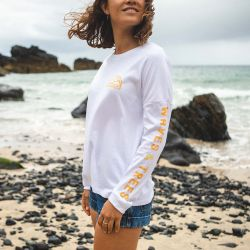 Passenger Clothing Coos Bay Recycled Long Sleeve Womens Tee - White - Full View