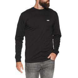 Vans Left Chest Hit Mens Logo Long Sleeve T-Shirt 2021 - Black/White - Front