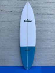 Rebel Bean PU Surfboard - White/Blue Tail Dip