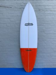 Rebel Bean PU Surfboard - White/Red Tail Dip