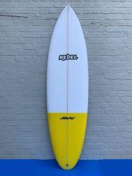Rebel Bean PU Surfboard - White/Yellow Tail Dip
