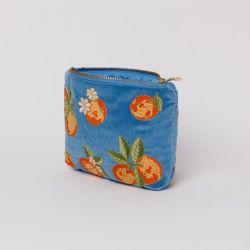 Elizabeth Scarlett Orange Makeup Bag - Blue Velvet - Full View