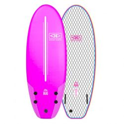 Ocean and Earth Bug 4ft 8 Soft Surfboard 2021 - Pink - Front and Back