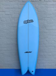 Rebel Retro Fish 5ft 10 PU Surfboard - Blue
