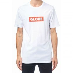 Globe Box T Shirt in White - Extra Large