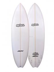 Rebel Hybrid Shortboard PU Surfboard - White
