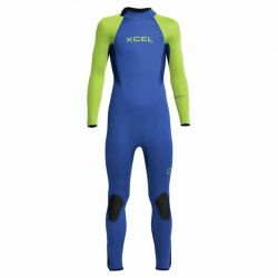 Xcel Axis 4/3mm Back Zip Youth Wetsuit 2021 - Blue/Fluro Green - Full View