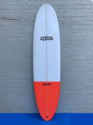 Rebel Mini Mal PU Surfboard - White/Red Tail Dip