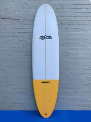 Rebel Mini Mal PU Surfboard - White/Yellow Tail Dip