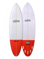 Rebel Bean PU Surfboard - White/Red Tail Dip