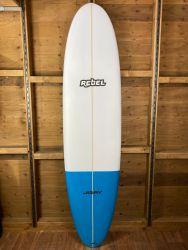 Rebel Mini Mal PU Surfboard - White/Blue Tail Dip