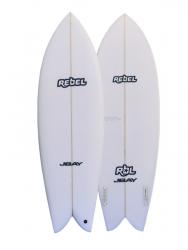 Rebel Retro Fish PU Surfboard - White