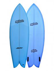 Rebel Retro Fish 5ft 10 PU Surfboard - Blue