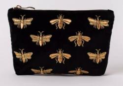 Elizabeth Scarlett 'Black Bee' Velvet Makeup Bag