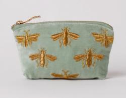 Elizabeth Scarlett 'Sage Green Bee' Velvet Coin Purse