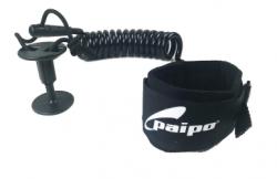 Paipo Deluxe Wrist Coiled Bodyboard Leash - Black