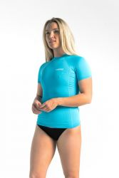 C Skins UV Basics Womens Short Sleeve Rash Vest - Ocean Blue front