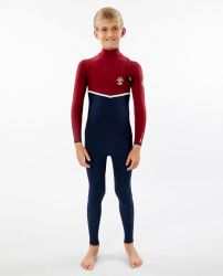 Rip Curl Flash Bomb 3/2mm Junior Wetsuit 2021 - Navy/Red - Full View