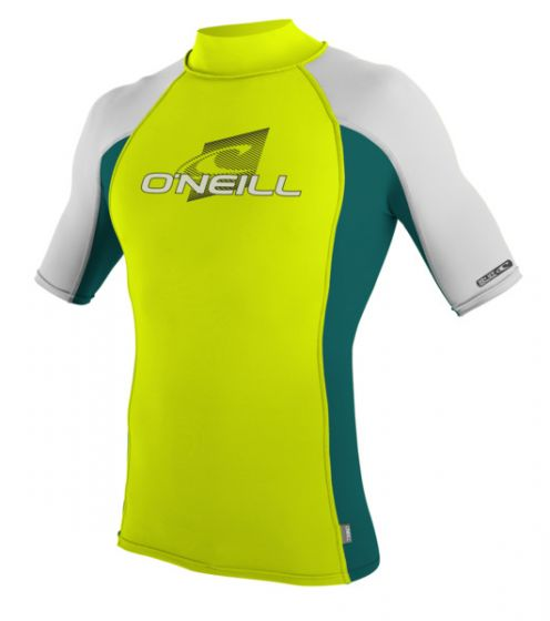 O'Neill Short Sleeve Lycra Rash Vest - Turtleneck - Lime