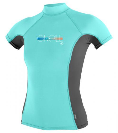 O´Neill Girls Skins Short Sleeve Turtleneck Rash Vest - 2016 f