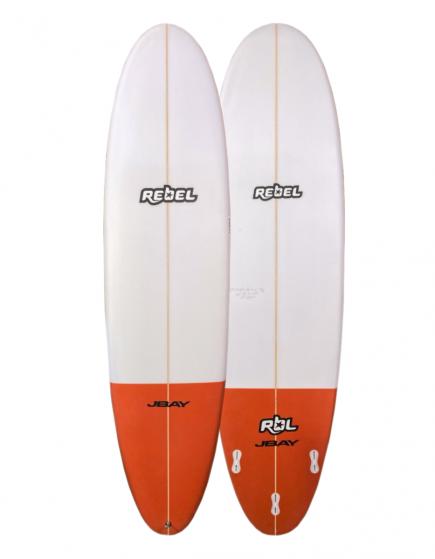 Rebel Mini Mal PU Surfboard - White/Red Tail Dip
