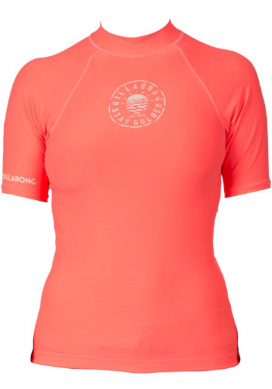 Billabong Logo Womens Rash Vest 2016 - Neon Coral